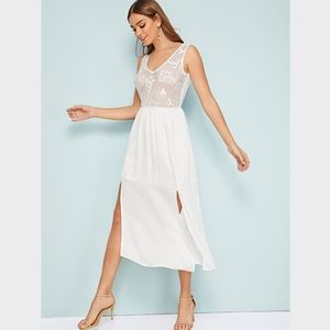 Lace Detail White Midi High Slit Dress